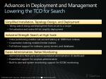 advances in deployment and management lowering the tco for search