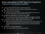 richer extensibility for fast search for sharepoint