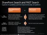 sharepoint search and fast search superset of capabilities common base functionality and platform