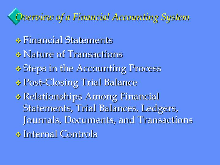 overview of a financial accounting system n.
