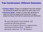 tree construction different outcomes