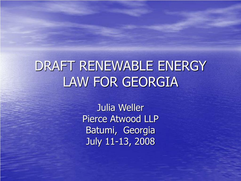 draft renewable energy law for georgia l.