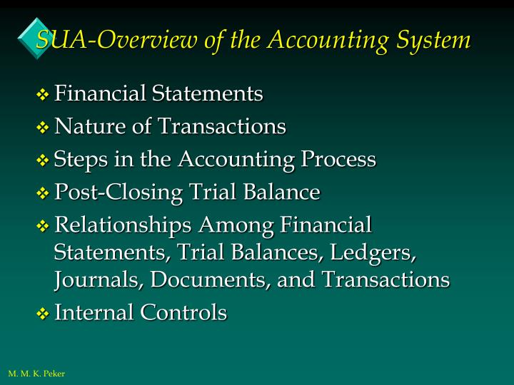 Sua overview of the accounting system