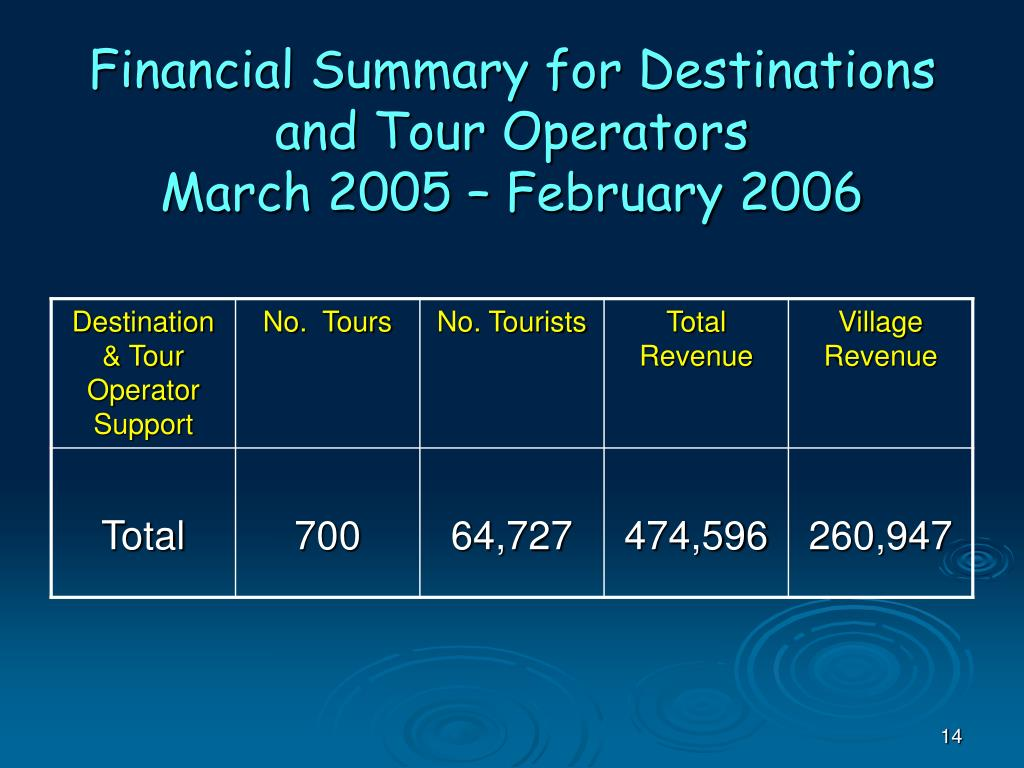Financial Summary for Destinations and Tour Operators