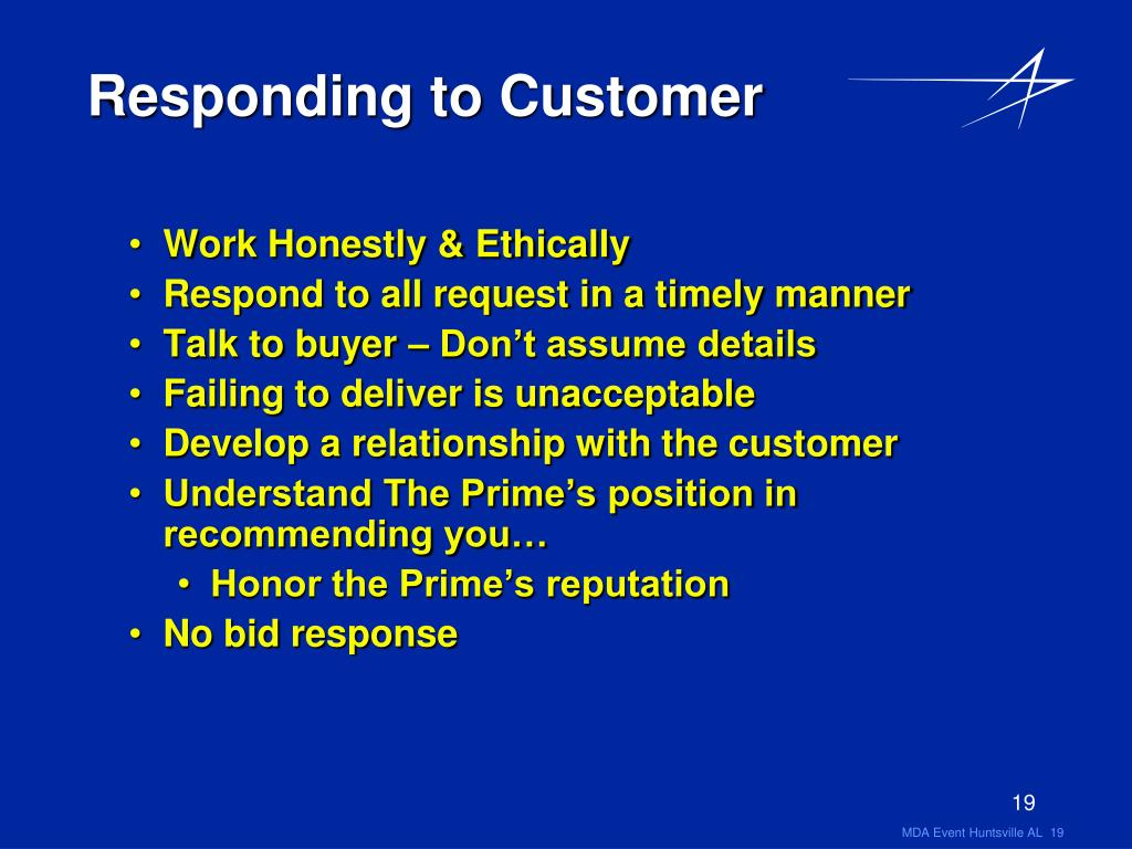 Responding to Customer