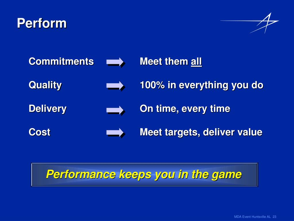 Performance keeps you in the game