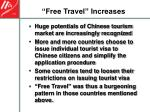 free travel increases