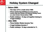 holiday system changed