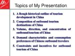 topics of my presentation