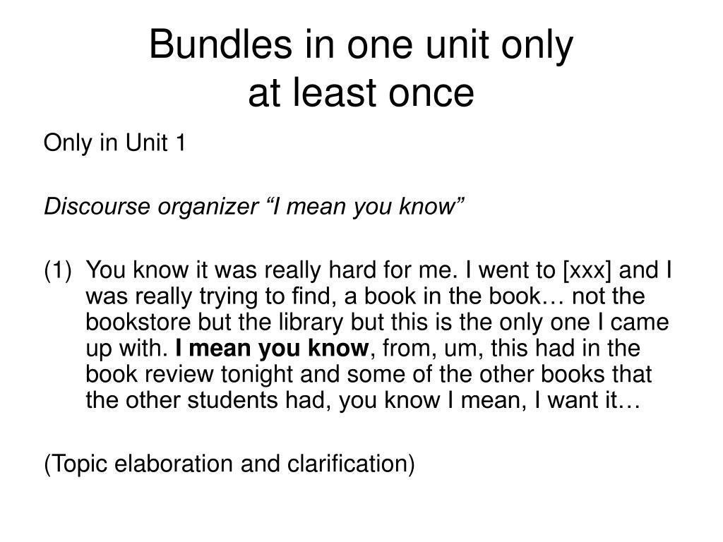 Bundles in one unit only