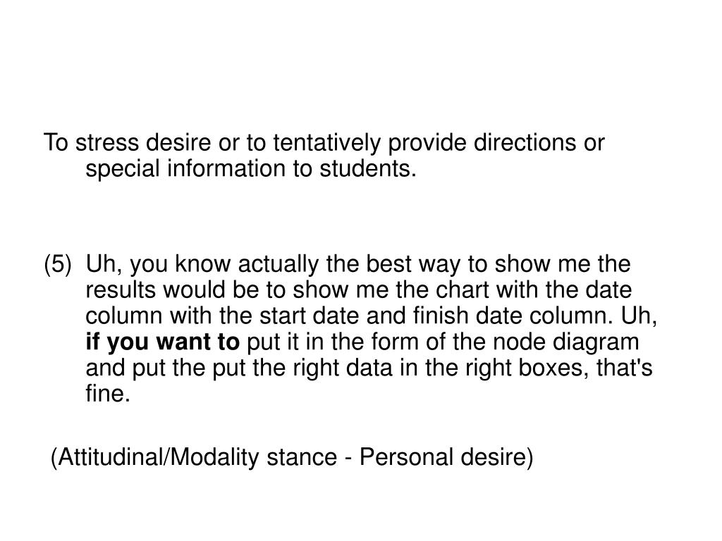 To stress desire or to tentatively provide directions or special information to students.
