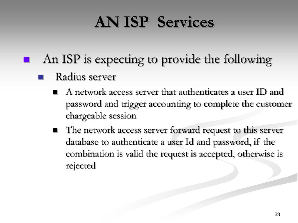 AN ISP  Services
