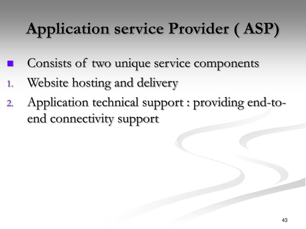 Application service Provider ( ASP)