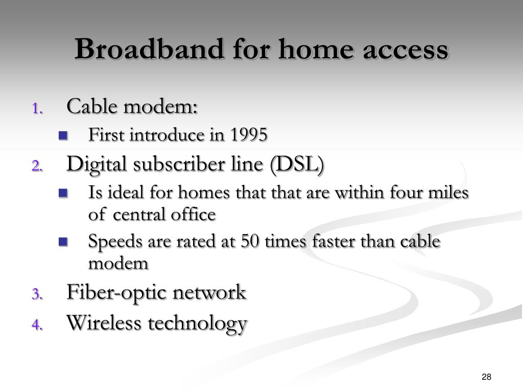 Broadband for home access