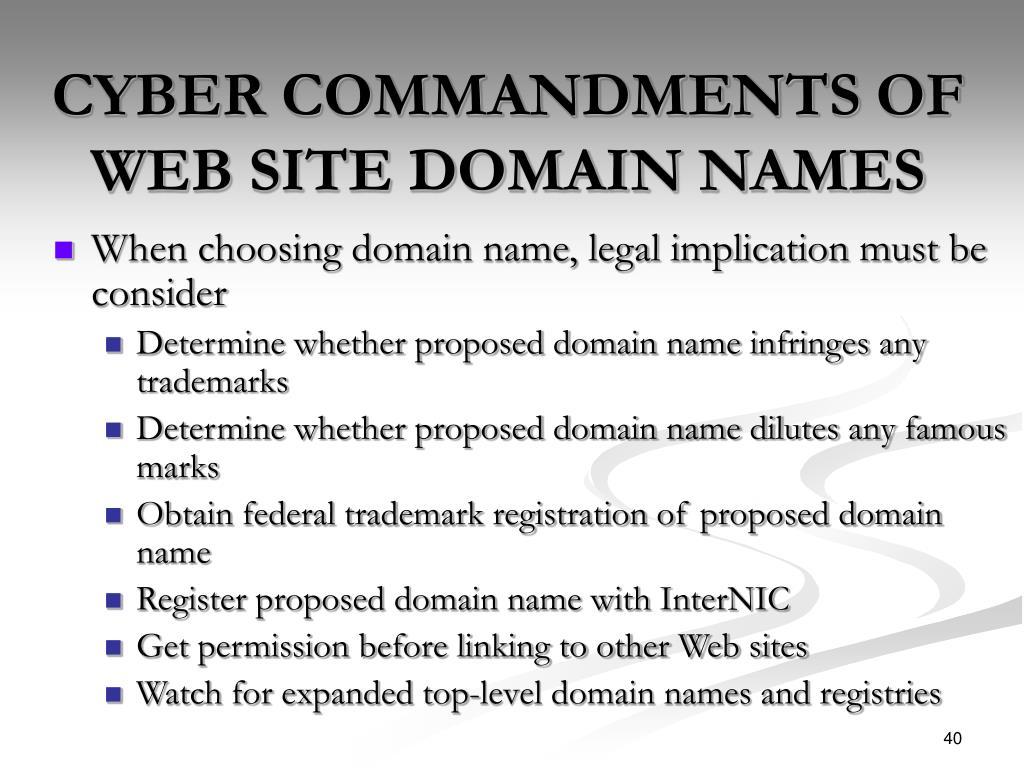 CYBER COMMANDMENTS OF WEB SITE DOMAIN NAMES