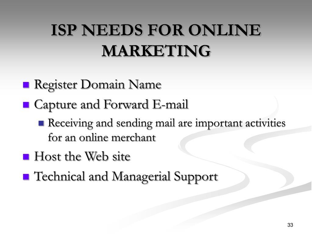 ISP NEEDS FOR ONLINE MARKETING
