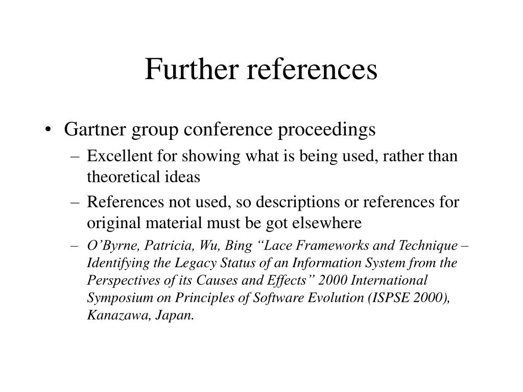 Further references
