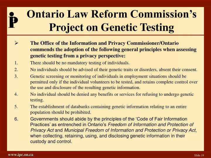 an introduction to the issue of genetic testing privacy Simple genetic tests are becoming ubiquitous it's never been so easy to find out so much about dna yet canada is the only g7 country without legislation to protect citizens from genetic.