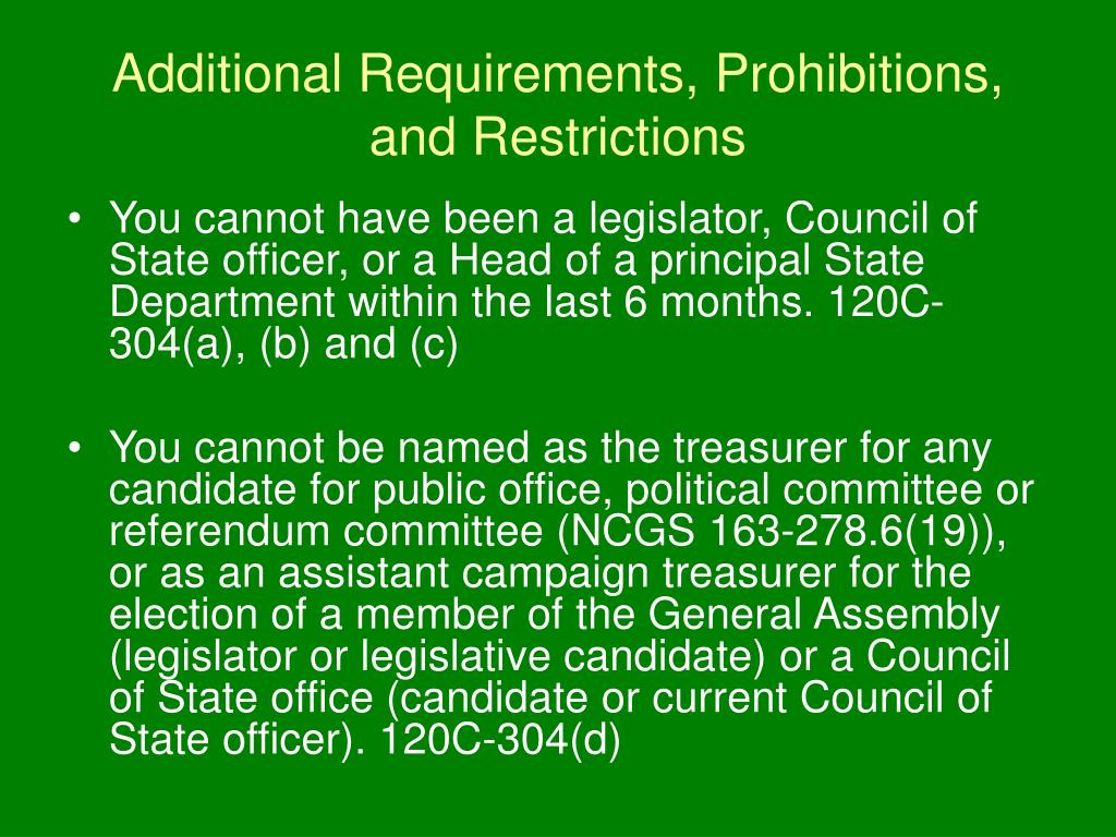 Additional Requirements, Prohibitions, and Restrictions