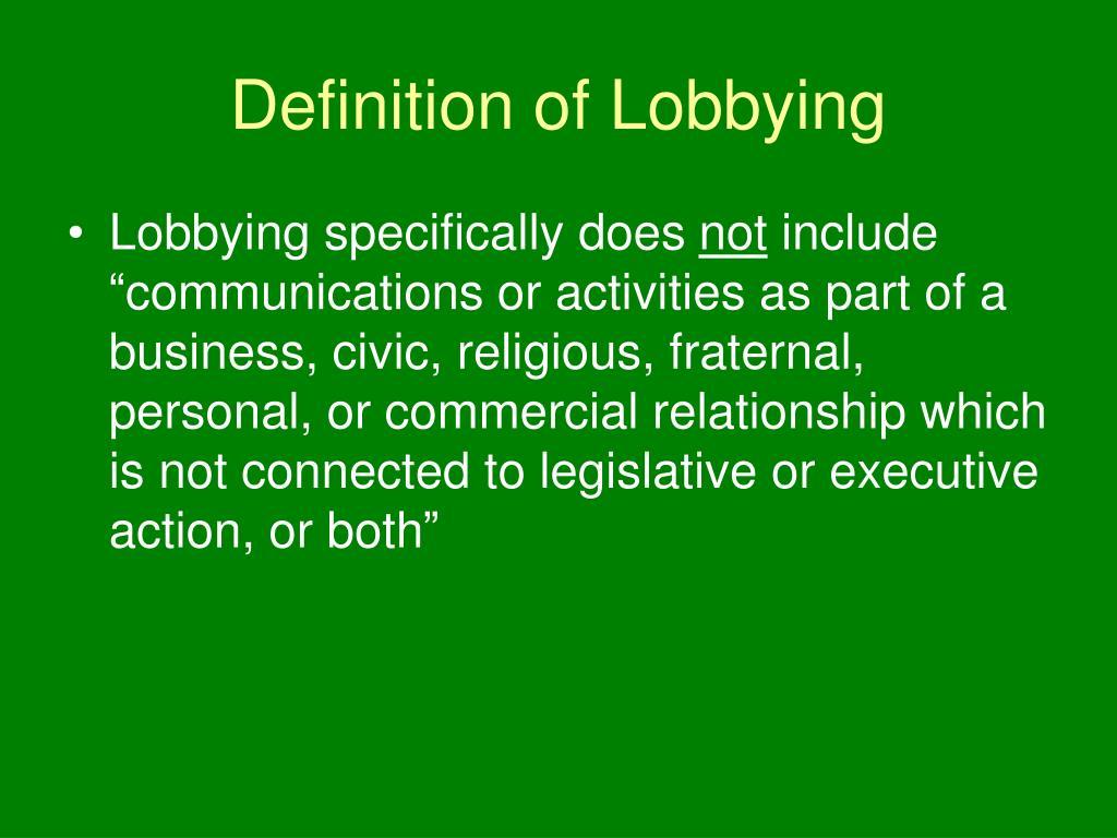 Definition of Lobbying