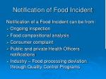 notification of food incident