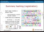 summary hashing registration