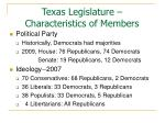 texas legislature characteristics of members8