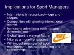 implications for sport managers