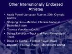 other internationally endorsed athletes