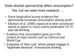does alcohol sponsorship affect consumption