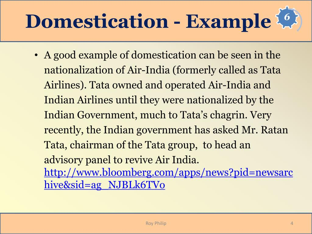 Domestication - Example