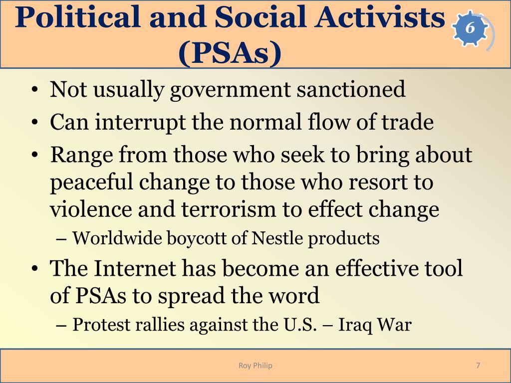 Political and Social Activists (PSAs)