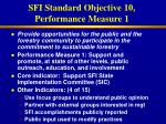 sfi standard objective 10 performance measure 1