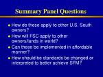 summary panel questions