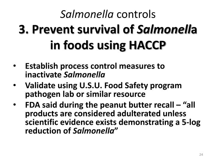 PPT - Salmonella in low Aw Foods A paradigm shift ...