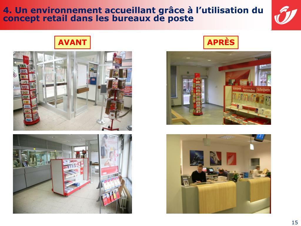 4. Un environnement accueillant grâce à l'utilisation du concept retail dans les bureaux de poste