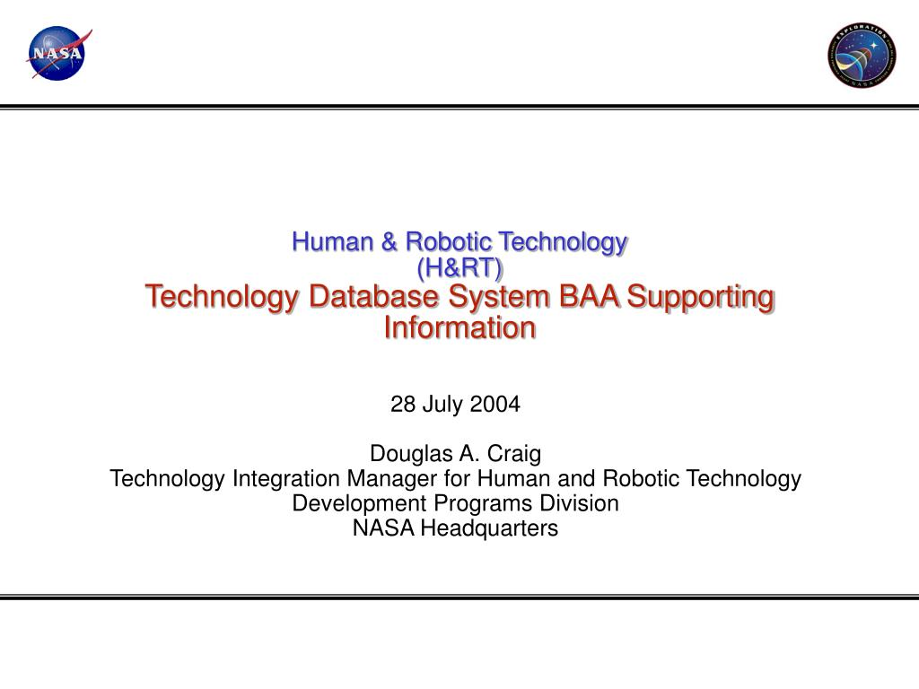 human robotic technology h rt technology database system baa supporting information l.