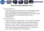 study recommendations cont