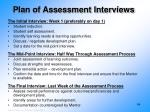 plan of assessment interviews