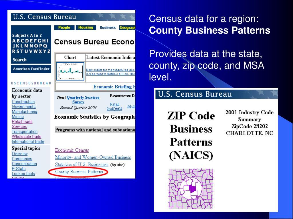 Census data for a region: