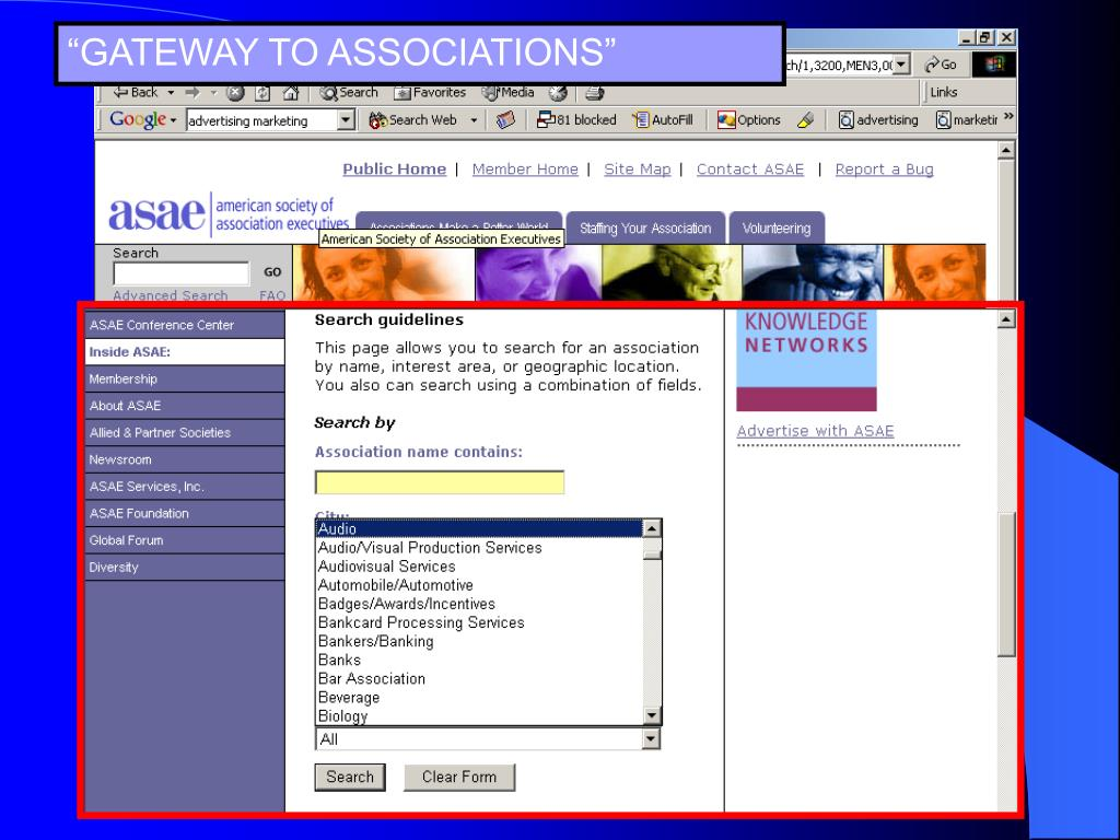 """GATEWAY TO ASSOCIATIONS"""