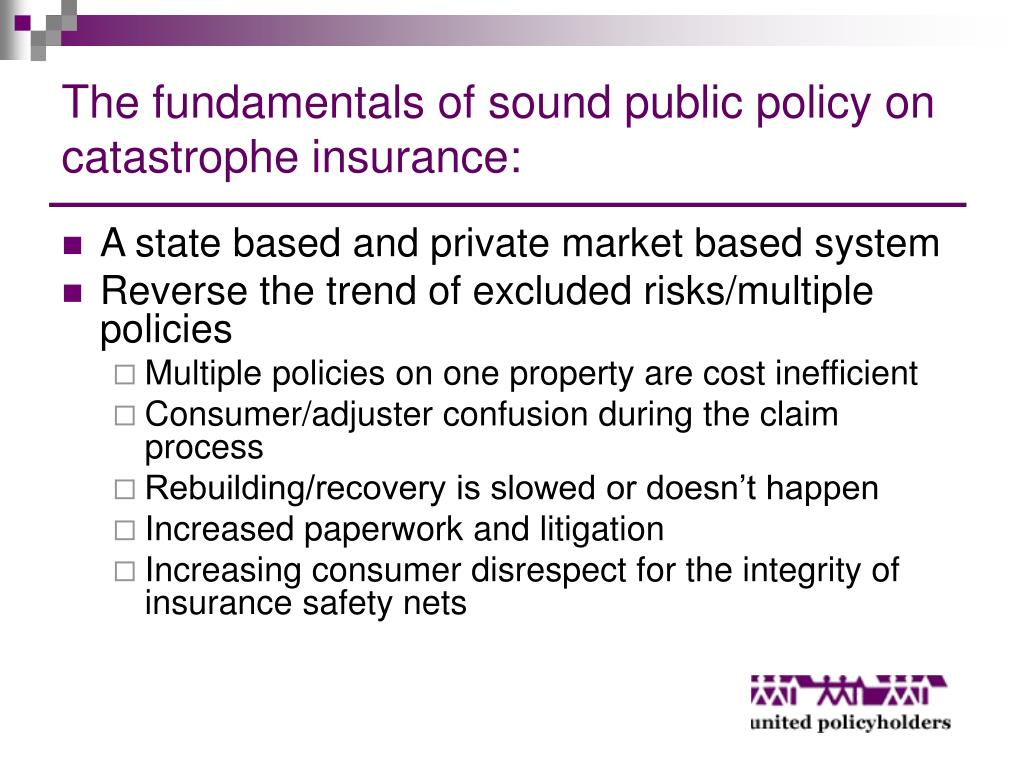 The fundamentals of sound public policy on catastrophe insurance: