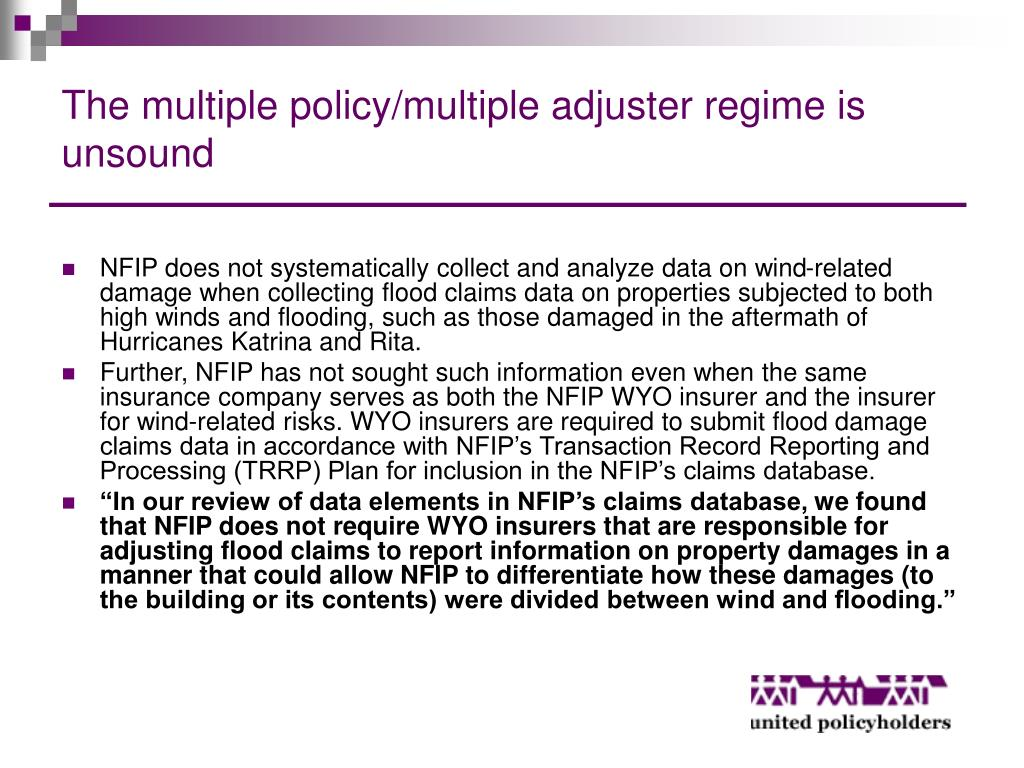 The multiple policy/multiple adjuster regime is unsound