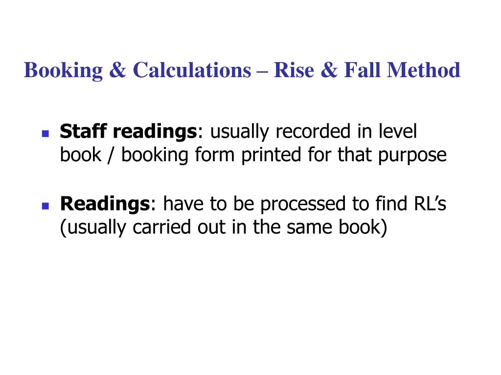 booking calculations rise fall method l.
