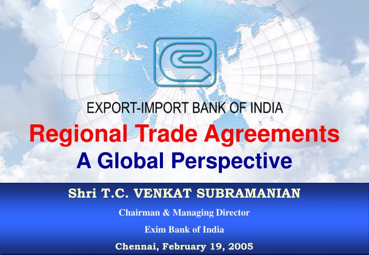 regional trade agreements a global perspective n.
