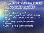 cfm activities implemented by etsp