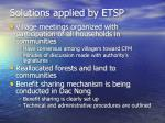 solutions applied by etsp