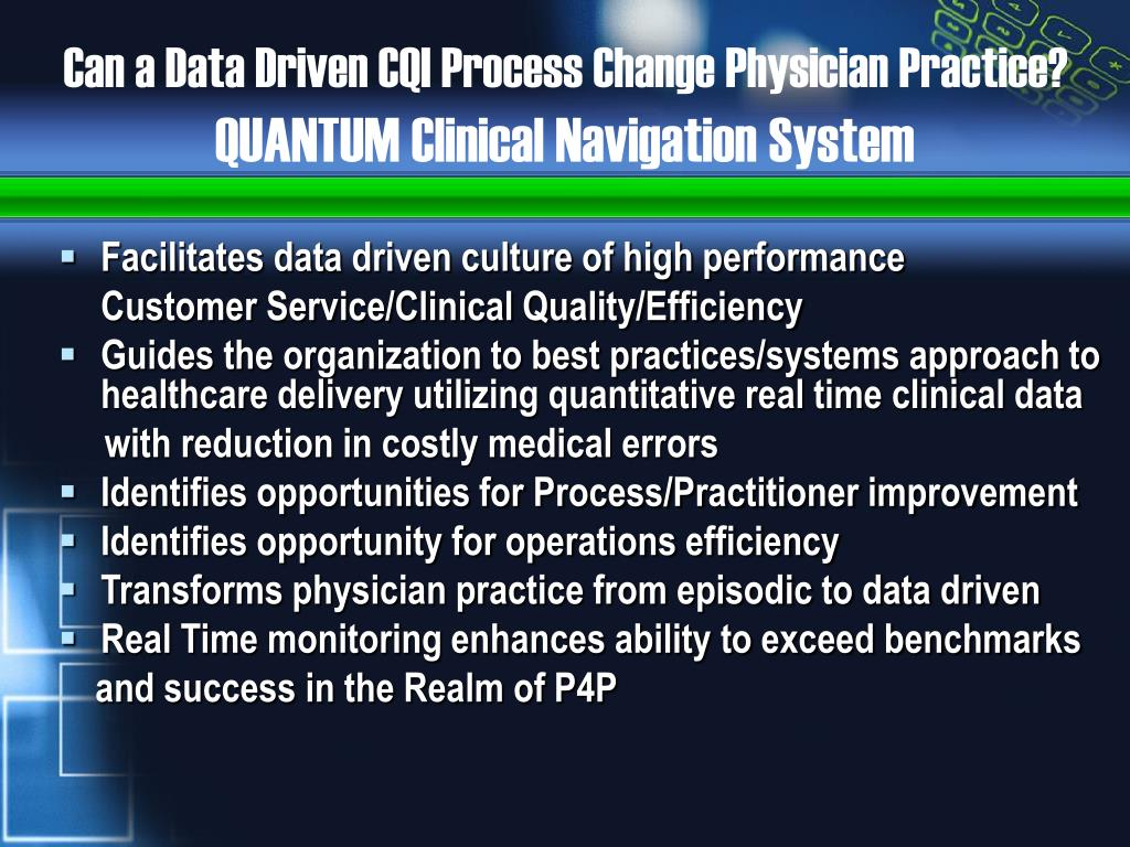 Can a Data Driven CQI Process Change Physician Practice?