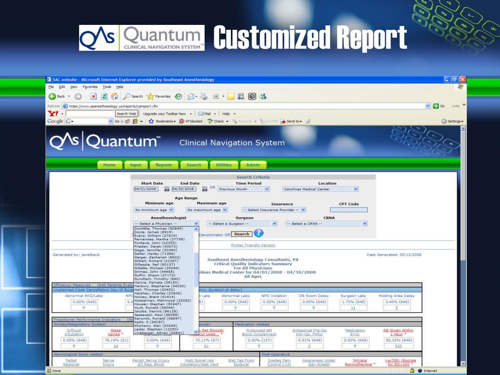 Customized Report