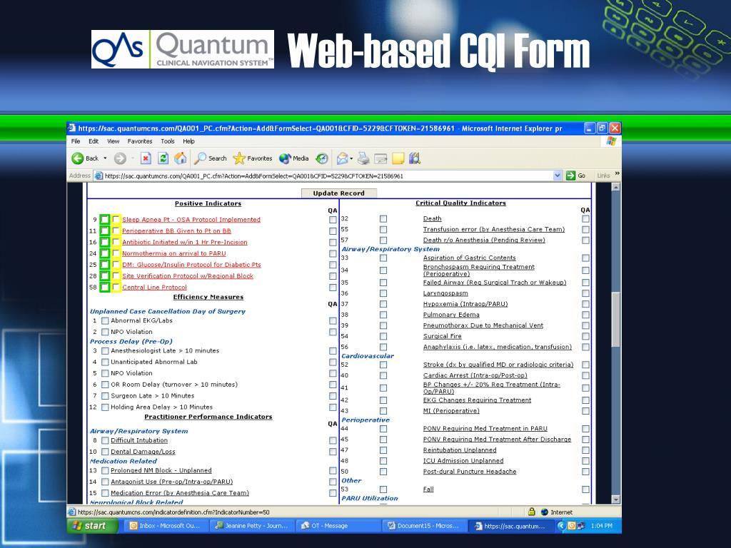 Web-based CQI Form